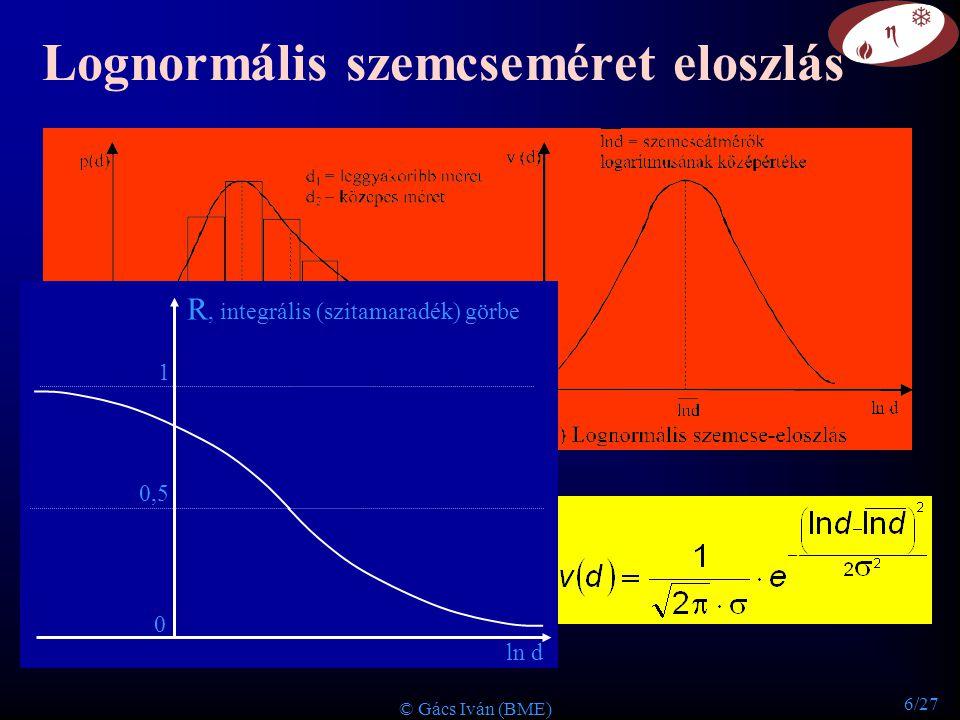 6/27 © Gács Iván (BME) Lognormális szemcseméret eloszlás R, integrális (szitamaradék) görbe 0 0,5 1 ln d
