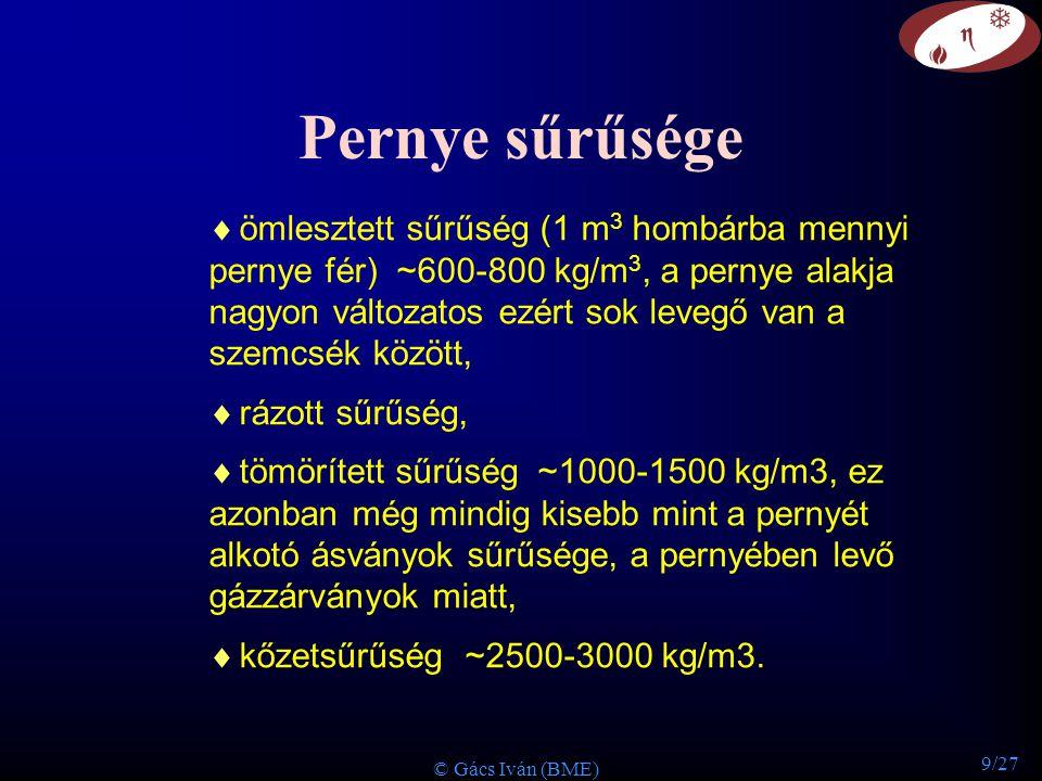 9/27 © Gács Iván (BME) Pernye sűrűsége  ömlesztett sűrűség (1 m 3 hombárba mennyi pernye fér) ~600-800 kg/m 3, a pernye alakja nagyon változatos ezér