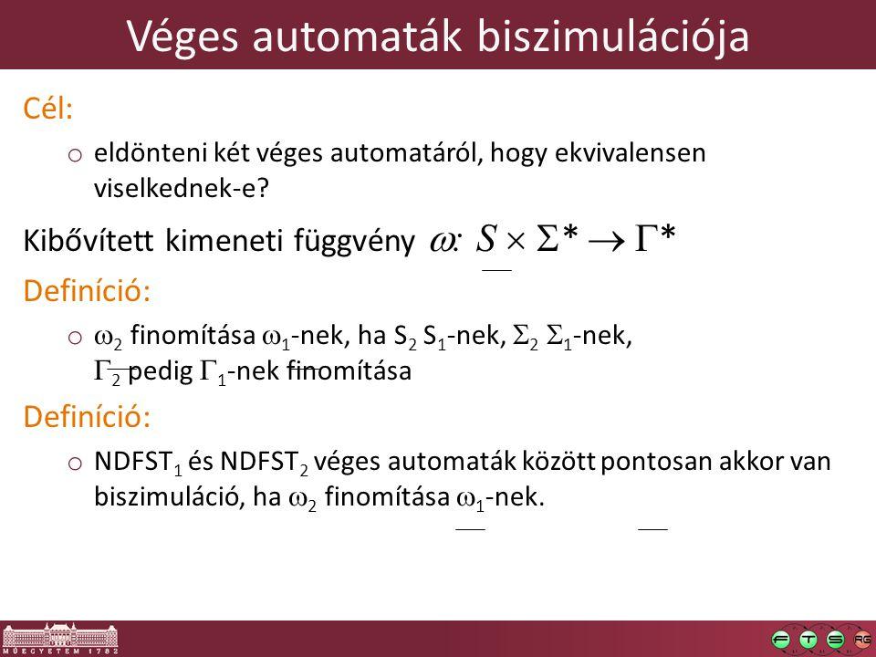 Véges automaták biszimulációja Cél: o eldönteni két véges automatáról, hogy ekvivalensen viselkednek-e? Kibővített kimeneti függvény  : S   *   *