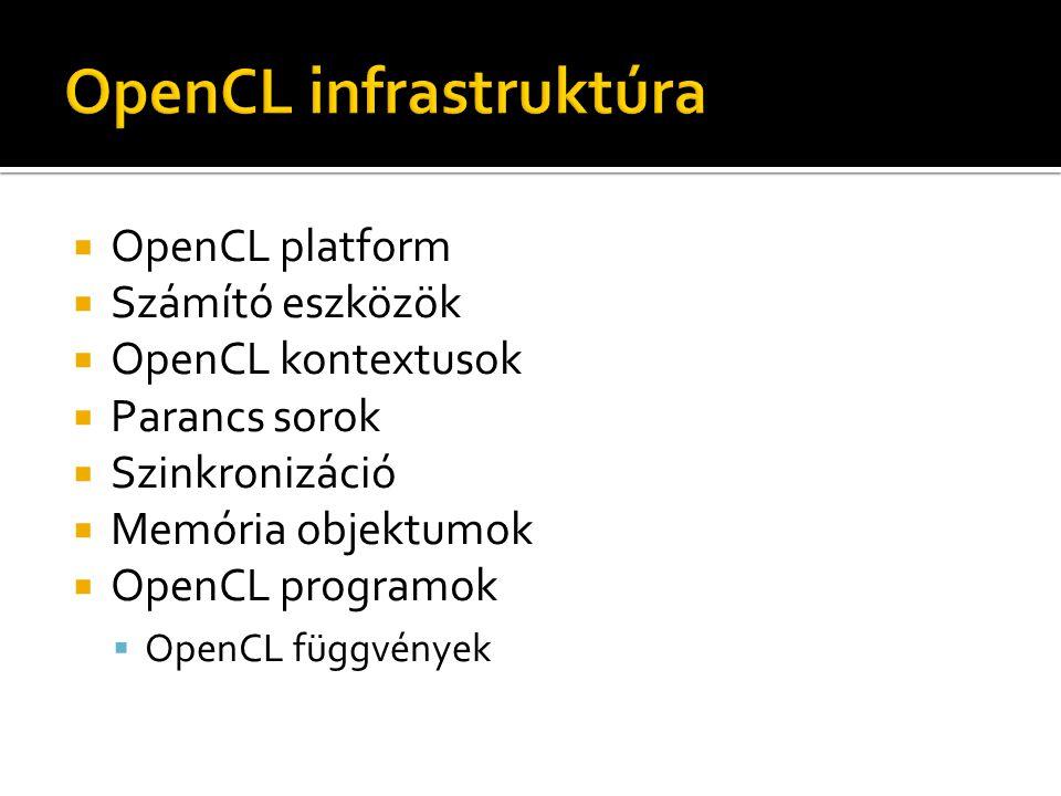  OpenCL platform  Számító eszközök  OpenCL kontextusok  Parancs sorok  Szinkronizáció  Memória objektumok  OpenCL programok  OpenCL függvények