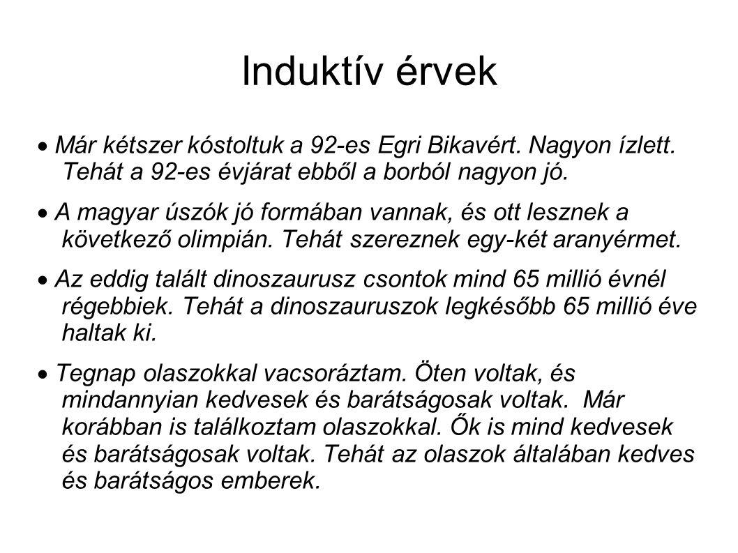 Induktív érvek  Már kétszer kóstoltuk a 92-es Egri Bikavért.