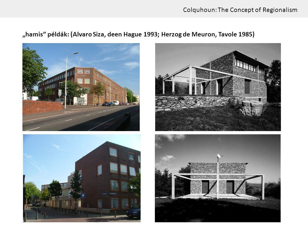 "Colquhoun: The Concept of Regionalism ""hamis"" példák: (Alvaro Siza, deen Hague 1993; Herzog de Meuron, Tavole 1985)"