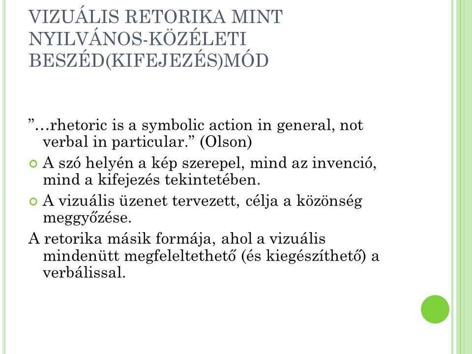 VIZUÁLIS RETORIKA MINT NYILVÁNOS-KÖZÉLETI BESZÉD(KIFEJEZÉS)MÓD …rhetoric is a symbolic action in general, not verbal in particular. (Olson) A szó helyén a kép szerepel, mind az invenció, mind a kifejezés tekintetében.