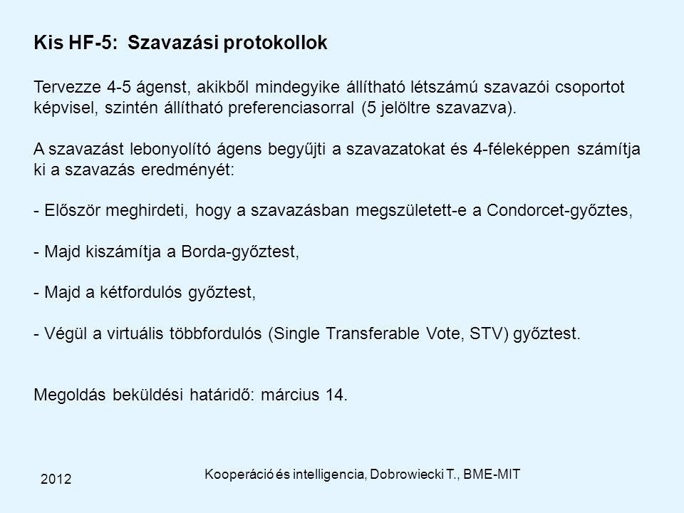 Kooperáció és intelligencia, Dobrowiecki T., BME-MIT 2012 Kis HF-5: Szavazási protokollok Tervezze 4-5 ágenst, akikből mindegyike állítható létszámú szavazói csoportot képvisel, szintén állítható preferenciasorral (5 jelöltre szavazva).