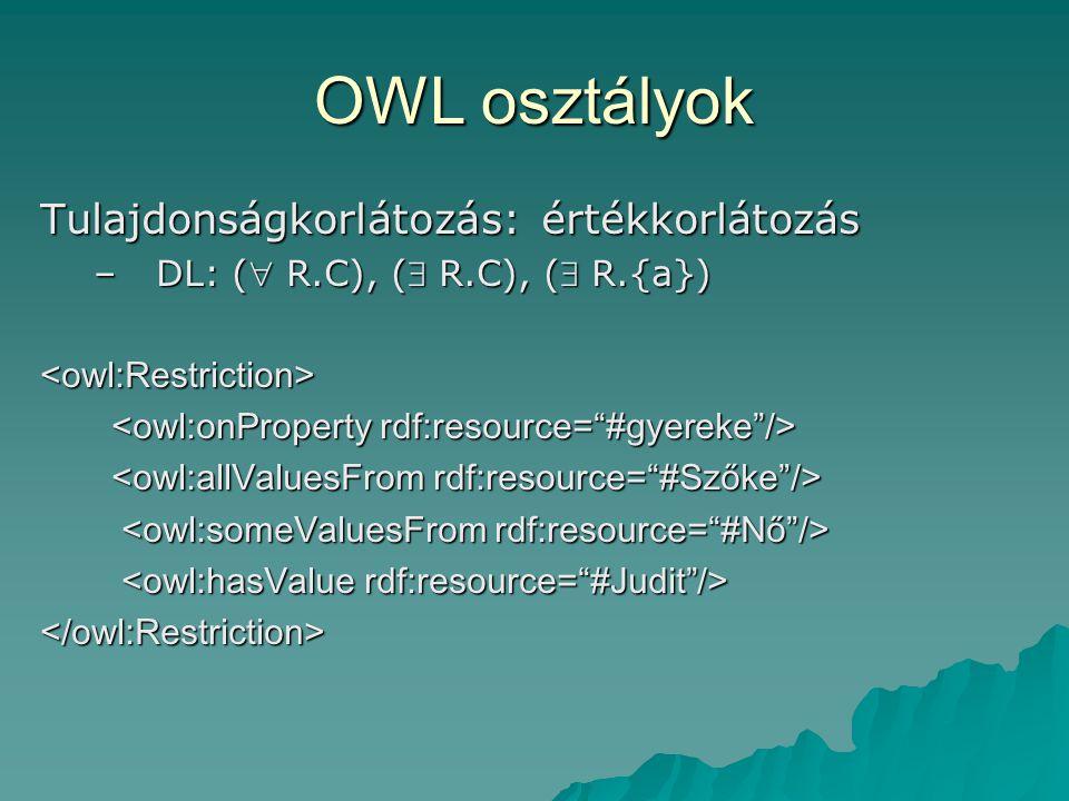OWL osztályok Tulajdonságkorlátozás: értékkorlátozás –DL: ( R.C), ( R.C), ( R.{a}) <owl:Restriction> </owl:Restriction>