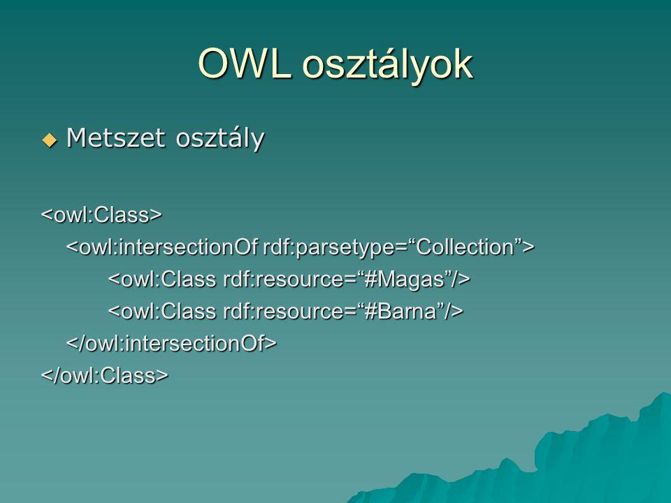 OWL osztályok  Metszet osztály <owl:Class> </owl:intersectionOf></owl:Class>