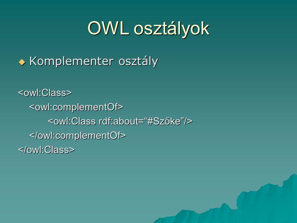 OWL osztályok  Komplementer osztály <owl:Class><owl:complementOf> </owl:complementOf></owl:Class>