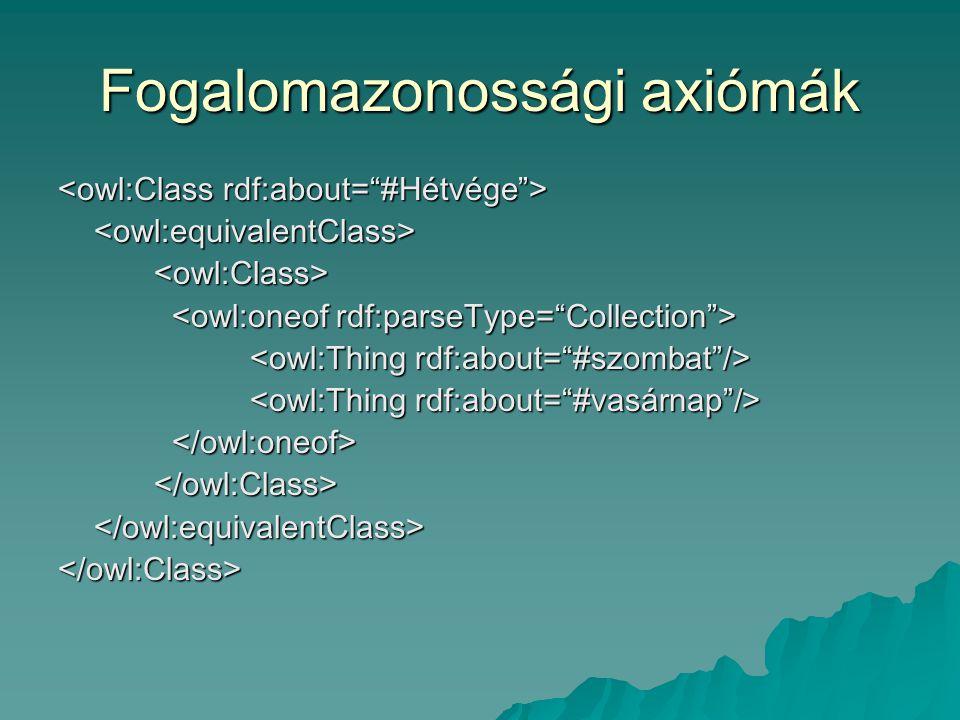 Fogalomazonossági axiómák <owl:equivalentClass><owl:Class> </owl:Class></owl:equivalentClass></owl:Class>