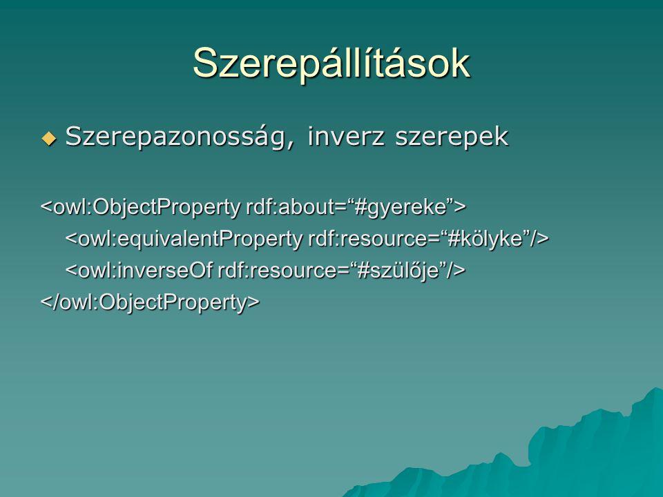 Szerepállítások  Szerepazonosság, inverz szerepek </owl:ObjectProperty>