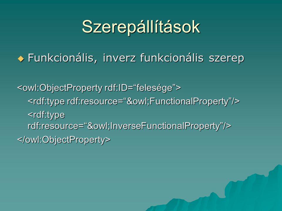Szerepállítások  Funkcionális, inverz funkcionális szerep </owl:ObjectProperty>