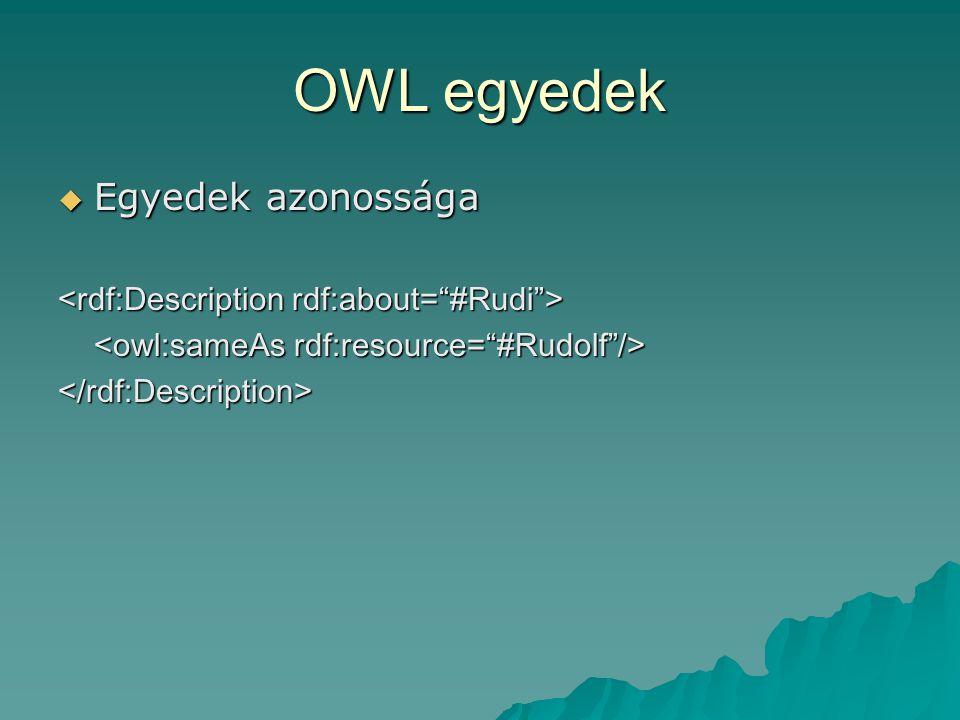 OWL egyedek  Egyedek azonossága </rdf:Description>