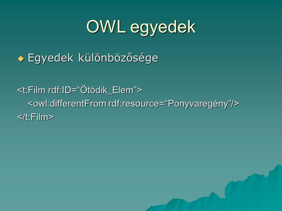 OWL egyedek  Egyedek különbözősége </t:Film>