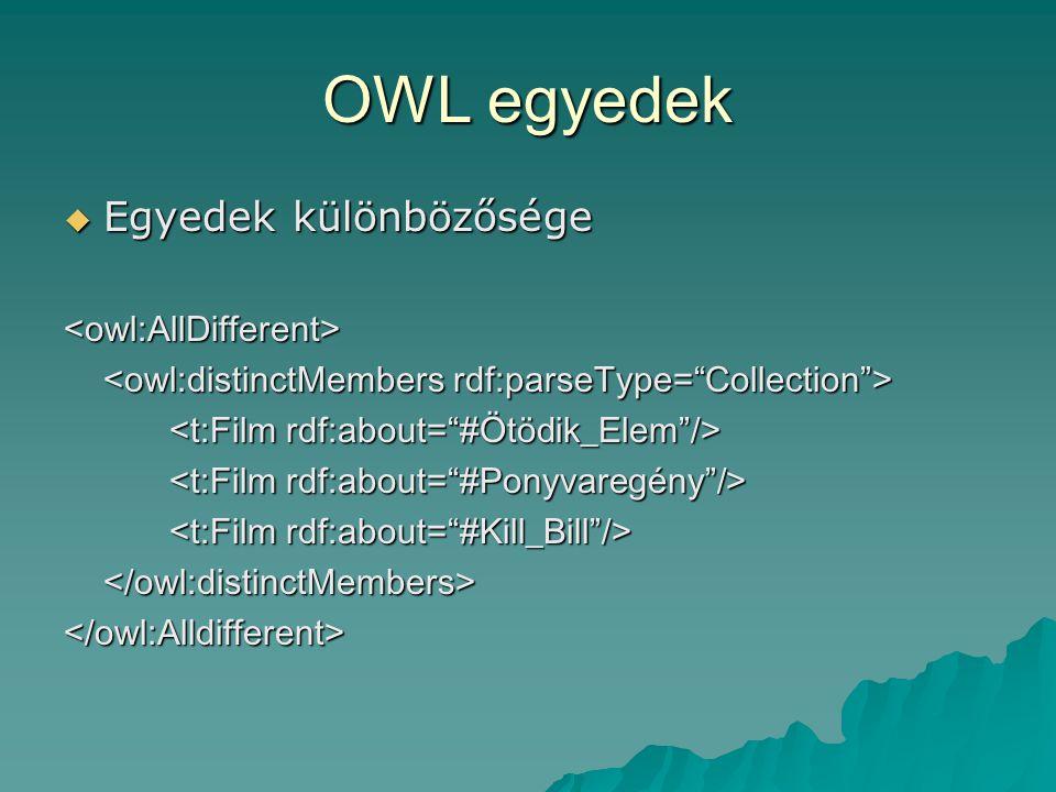 OWL egyedek  Egyedek különbözősége <owl:AllDifferent> </owl:distinctMembers></owl:Alldifferent>