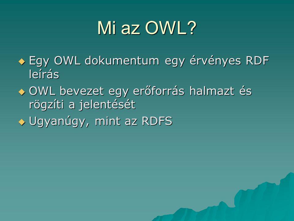 OWL osztályok  Unió osztály <owl:Class> <owl:Restriction> Barna Barna </owl:Restriction></owl:unionOf></owl:Class>