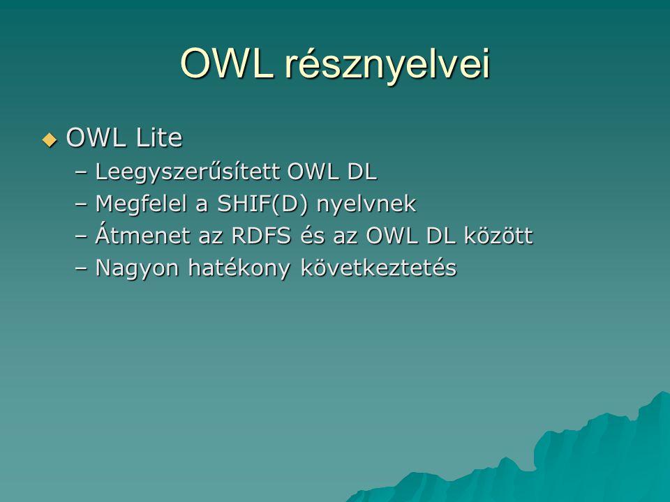 OWL résznyelvei  OWL Lite –Leegyszerűsített OWL DL –Megfelel a SHIF(D) nyelvnek –Átmenet az RDFS és az OWL DL között –Nagyon hatékony következtetés