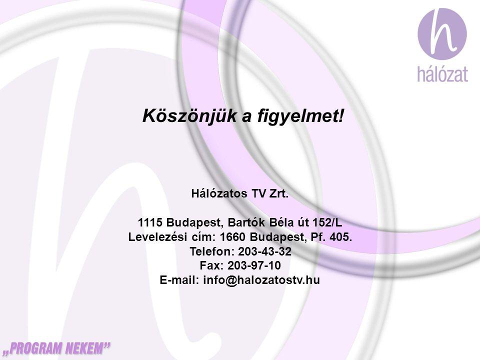 Köszönjük a figyelmet! Hálózatos TV Zrt. 1115 Budapest, Bartók Béla út 152/L Levelezési cím: 1660 Budapest, Pf. 405. Telefon: 203-43-32 Fax: 203-97-10