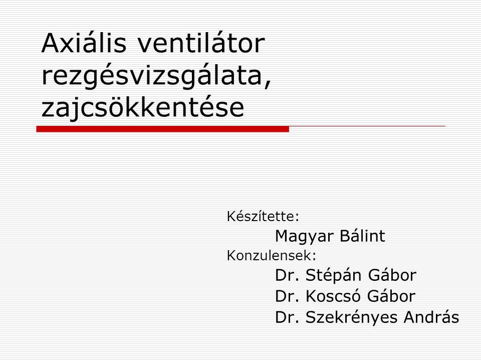 Axiális ventilátor rezgésvizsgálata, zajcsökkentése Készítette: Magyar Bálint Konzulensek: Dr.