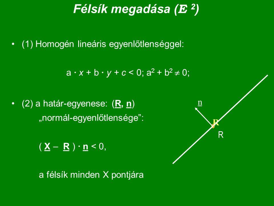 """Félsík megadása ( E 2 ) (1) Homogén lineáris egyenlőtlenséggel: a · x + b · y + c < 0; a 2 + b 2  0; (2) a határ-egyenese: (R, n) """"normál-egyenlőtlen"""