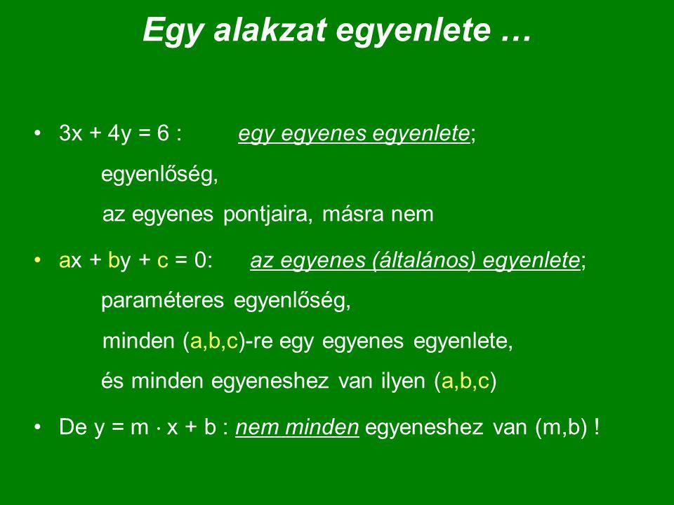 Egy alakzat egyenlete … 3x + 4y = 6 : egy egyenes egyenlete; egyenlőség, az egyenes pontjaira, másra nem ax + by + c = 0: az egyenes (általános) egyen