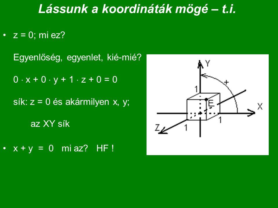 Lássunk a koordináták mögé – t.i. z = 0; mi ez? Egyenlőség, egyenlet, kié-mié? 0  x + 0  y + 1  z + 0 = 0 sík: z = 0 és akármilyen x, y; az XY sík