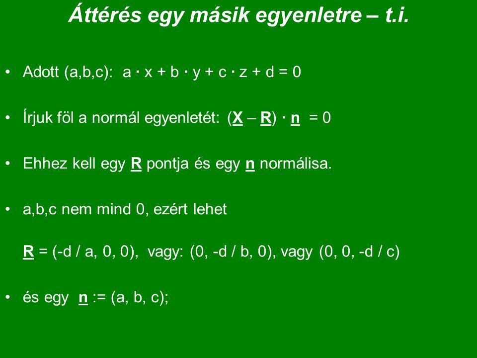 Áttérés egy másik egyenletre – t.i. Adott (a,b,c): a · x + b · y + c · z + d = 0 Írjuk föl a normál egyenletét: (X – R) · n = 0 Ehhez kell egy R pontj