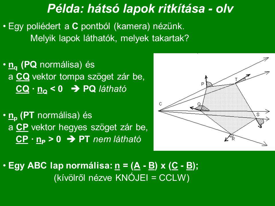 Példa: hátsó lapok ritkítása - olv Egy poliédert a C pontból (kamera) nézünk. Melyik lapok láthatók, melyek takartak? n q (PQ normálisa) és a CQ vekto