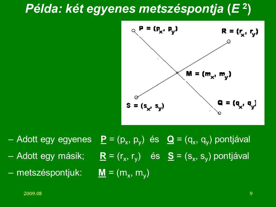 2009.089 Példa: két egyenes metszéspontja (E 2 ) –Adott egy egyenes P = (p x, p y ) és Q = (q x, q y ) pontjával –Adott egy másik; R = (r x, r y ) és