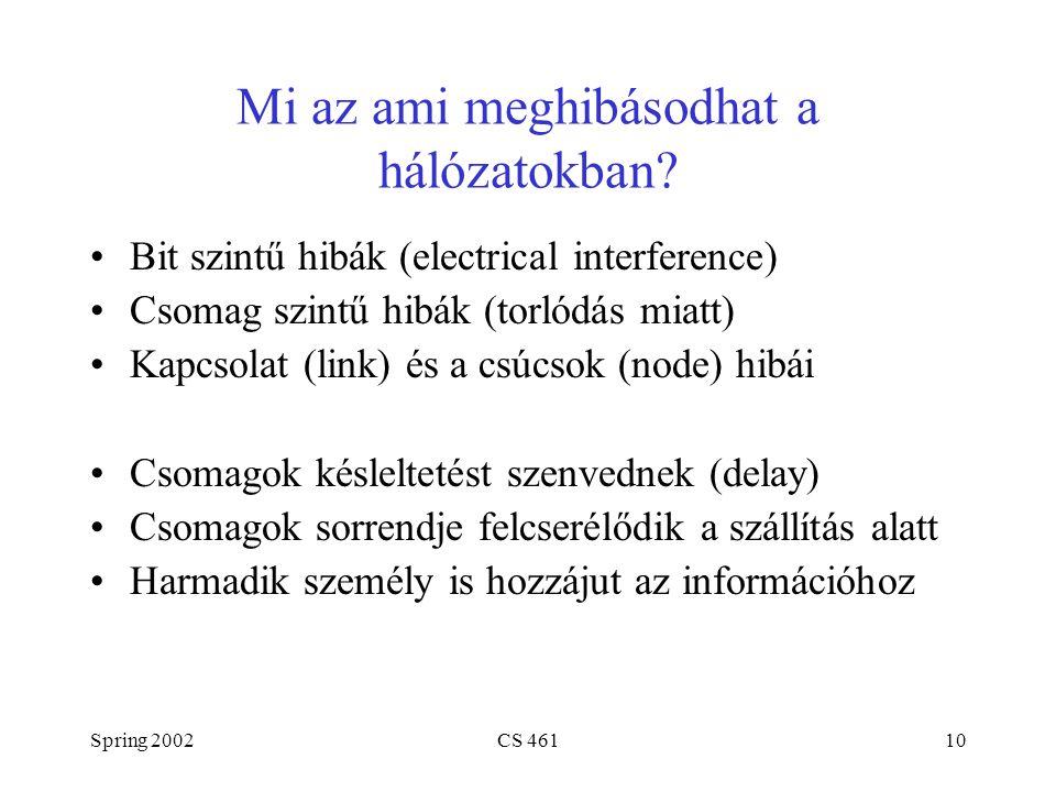 Spring 2002CS 46110 Mi az ami meghibásodhat a hálózatokban.