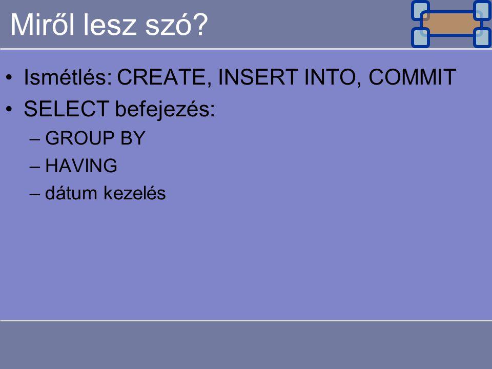 Miről lesz szó? Ismétlés: CREATE, INSERT INTO, COMMIT SELECT befejezés: –GROUP BY –HAVING –dátum kezelés