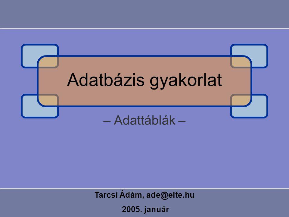 – Adattáblák – Tarcsi Ádám, ade@elte.hu 2005. január Adatbázis gyakorlat