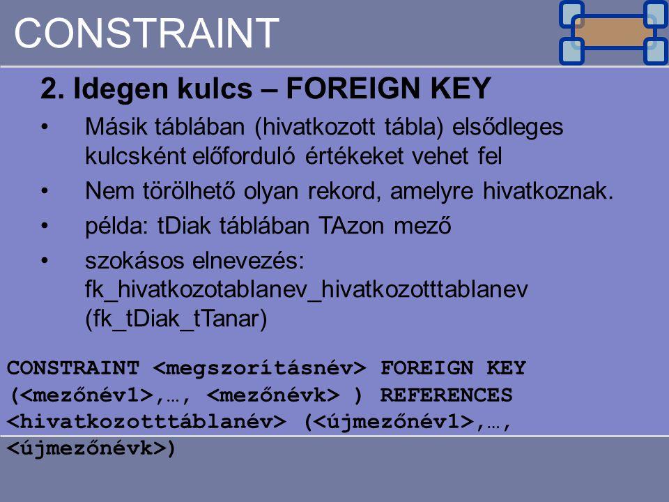 CONSTRAINT 2. Idegen kulcs – FOREIGN KEY Másik táblában (hivatkozott tábla) elsődleges kulcsként előforduló értékeket vehet fel Nem törölhető olyan re
