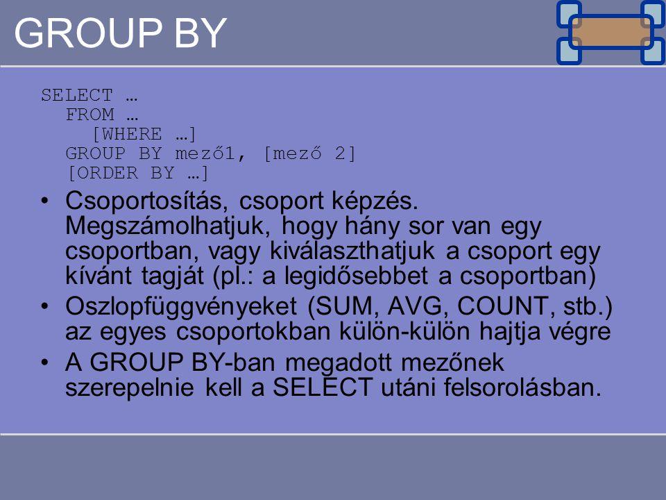 GROUP BY SELECT … FROM … [WHERE …] GROUP BY mező1, [mező 2] [ORDER BY …] Csoportosítás, csoport képzés. Megszámolhatjuk, hogy hány sor van egy csoport