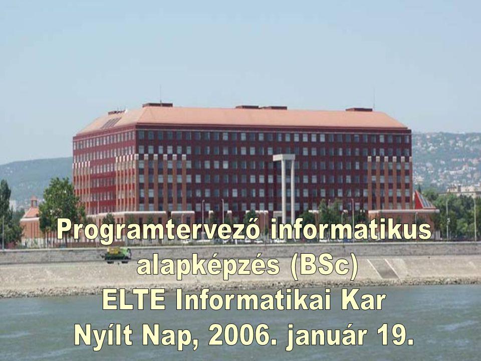 A programtervező informatikus alapképzési (BSc) szak bemutatása NYÍLT NAP ELTE Informatikai Kar, 2006.