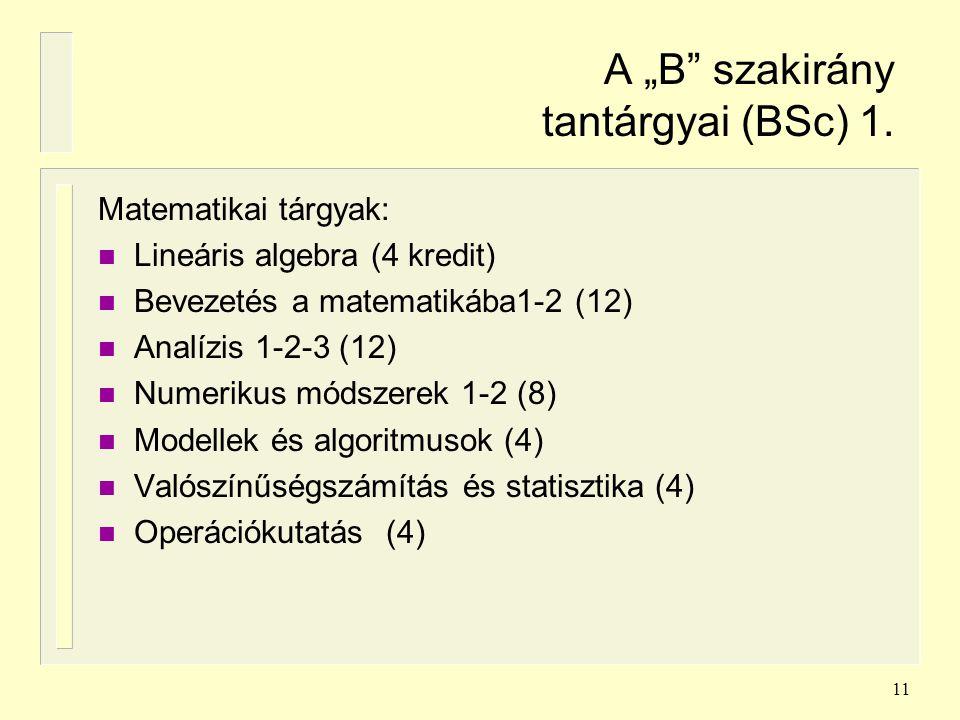"""11 A """"B"""" szakirány tantárgyai (BSc) 1. Matematikai tárgyak: n Lineáris algebra (4 kredit) n Bevezetés a matematikába1-2 (12) n Analízis 1-2-3 (12) n N"""