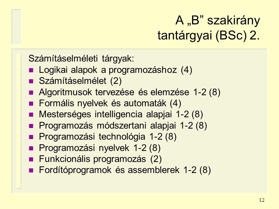 """12 A """"B"""" szakirány tantárgyai (BSc) 2. Számításelméleti tárgyak: n Logikai alapok a programozáshoz (4) n Számításelmélet (2) n Algoritmusok tervezése"""