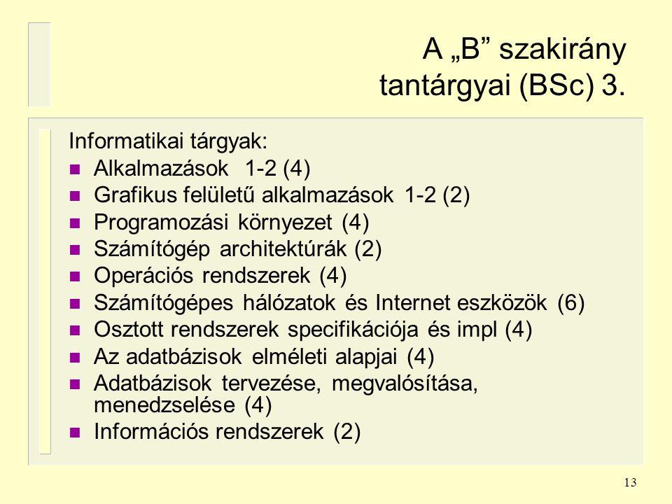 """13 A """"B"""" szakirány tantárgyai (BSc) 3. Informatikai tárgyak: n Alkalmazások 1-2 (4) n Grafikus felületű alkalmazások 1-2 (2) n Programozási környezet"""