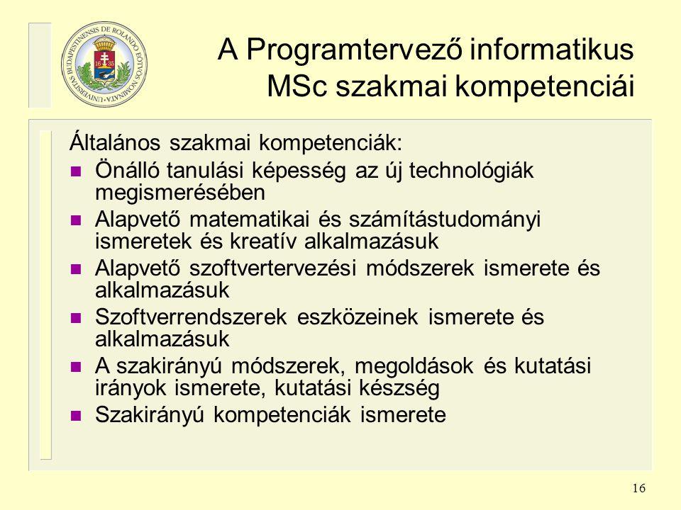 16 A Programtervező informatikus MSc szakmai kompetenciái Általános szakmai kompetenciák: n Önálló tanulási képesség az új technológiák megismerésében