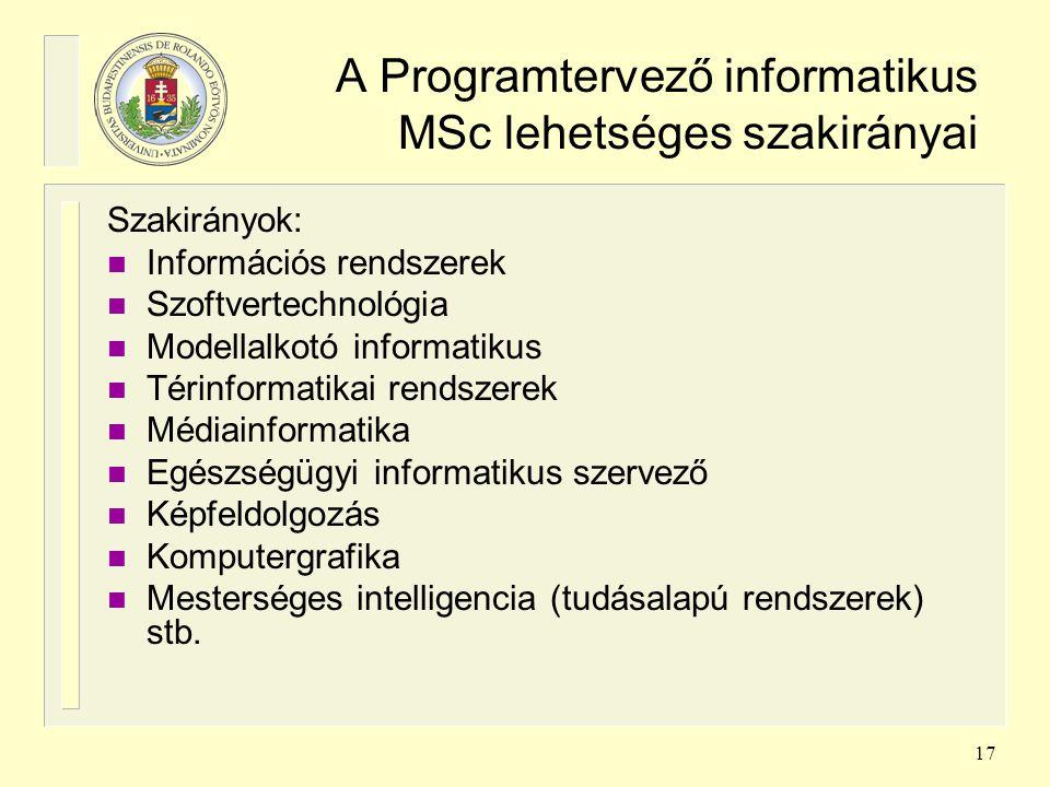 17 A Programtervező informatikus MSc lehetséges szakirányai Szakirányok: n Információs rendszerek n Szoftvertechnológia n Modellalkotó informatikus n