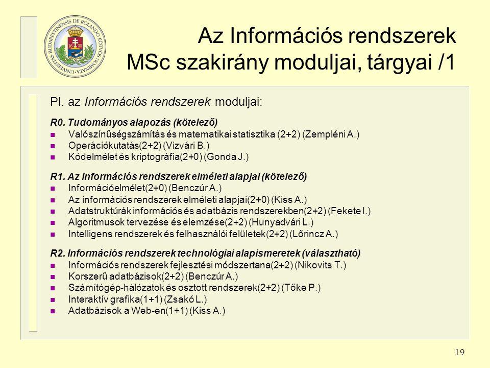 19 Az Információs rendszerek MSc szakirány moduljai, tárgyai /1 Pl. az Információs rendszerek moduljai: R0. Tudományos alapozás (kötelező) n Valószínű