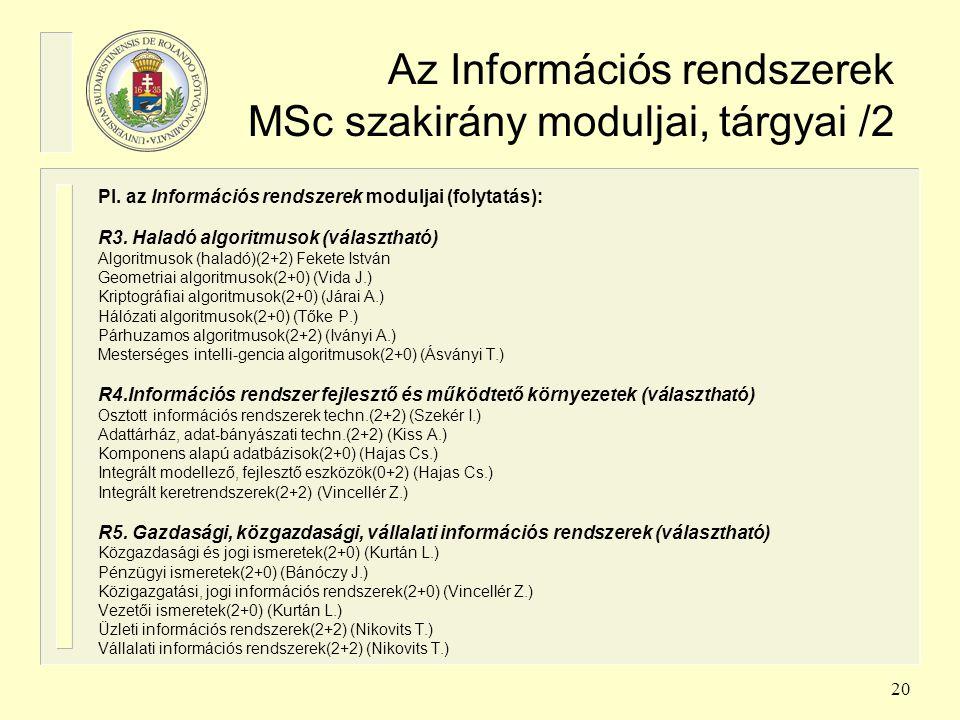 20 Az Információs rendszerek MSc szakirány moduljai, tárgyai /2 Pl. az Információs rendszerek moduljai (folytatás): R3. Haladó algoritmusok (választha