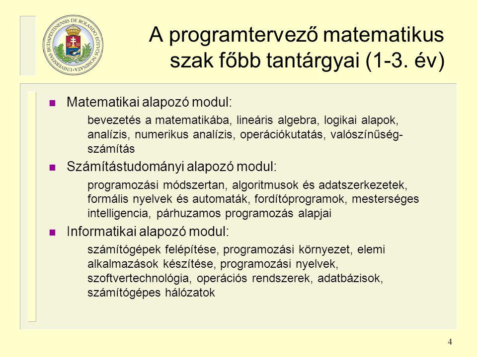 4 A programtervező matematikus szak főbb tantárgyai (1-3. év) n Matematikai alapozó modul: bevezetés a matematikába, lineáris algebra, logikai alapok,