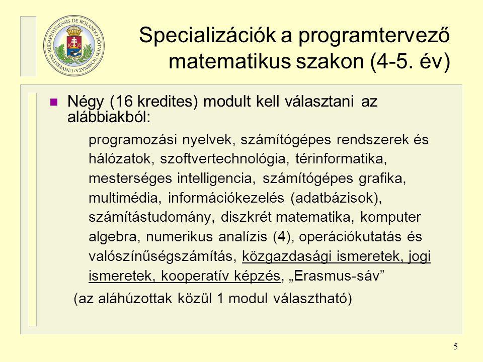 5 Specializációk a programtervező matematikus szakon (4-5. év) n Négy (16 kredites) modult kell választani az alábbiakból: programozási nyelvek, számí