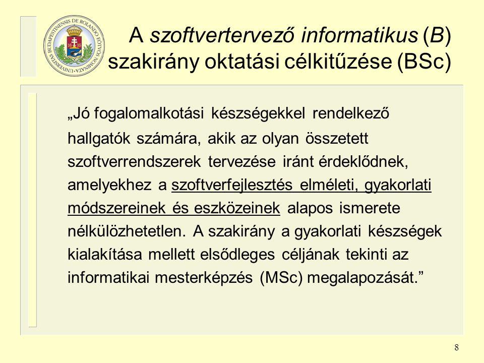 19 Az Információs rendszerek MSc szakirány moduljai, tárgyai /1 Pl.