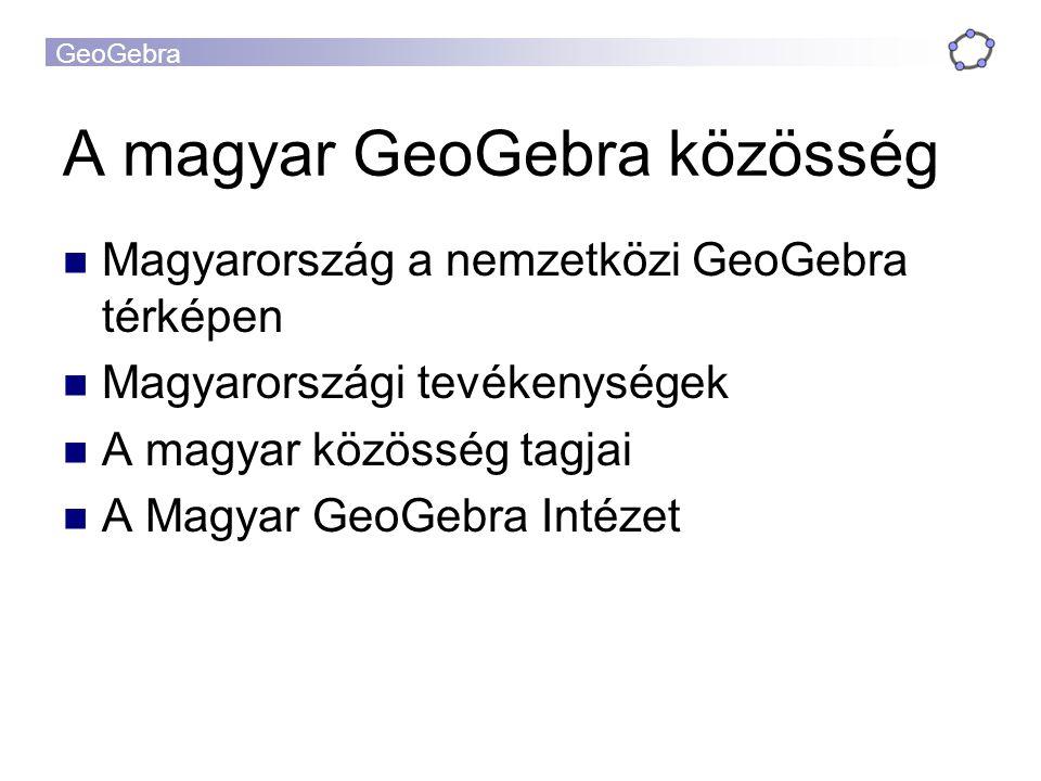 GeoGebra A magyar GeoGebra közösség Magyarország a nemzetközi GeoGebra térképen Magyarországi tevékenységek A magyar közösség tagjai A Magyar GeoGebra