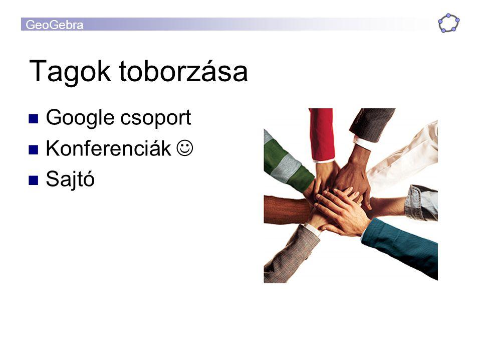 GeoGebra Tagok toborzása Google csoport Konferenciák Sajtó