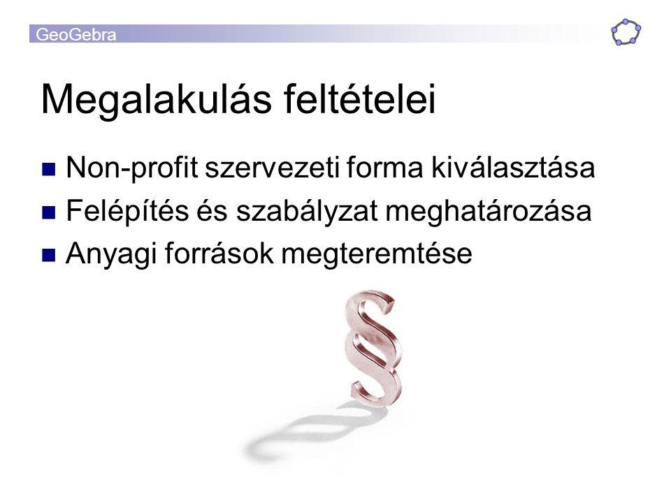 GeoGebra Megalakulás feltételei Non-profit szervezeti forma kiválasztása Felépítés és szabályzat meghatározása Anyagi források megteremtése