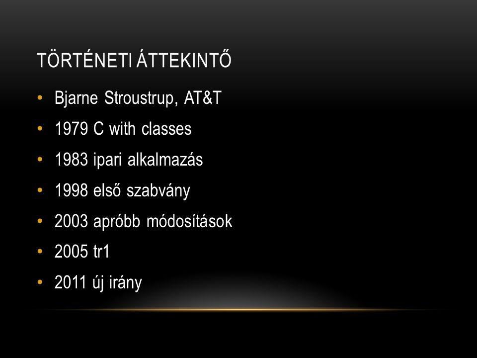 TÖRTÉNETI ÁTTEKINTŐ Bjarne Stroustrup, AT&T 1979 C with classes 1983 ipari alkalmazás 1998 első szabvány 2003 apróbb módosítások 2005 tr1 2011 új irány