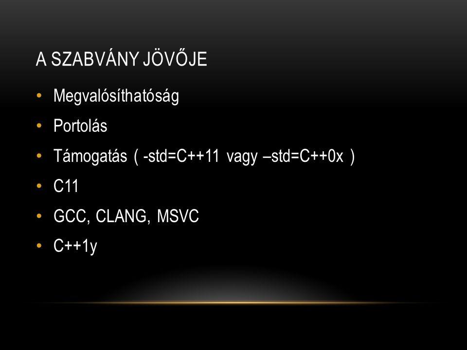 A SZABVÁNY JÖVŐJE Megvalósíthatóság Portolás Támogatás ( -std=C++11 vagy –std=C++0x ) C11 GCC, CLANG, MSVC C++1y