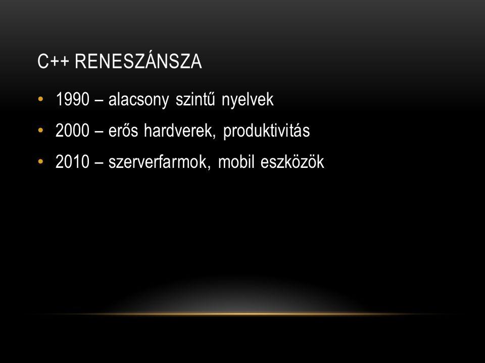 C++ RENESZÁNSZA 1990 – alacsony szintű nyelvek 2000 – erős hardverek, produktivitás 2010 – szerverfarmok, mobil eszközök