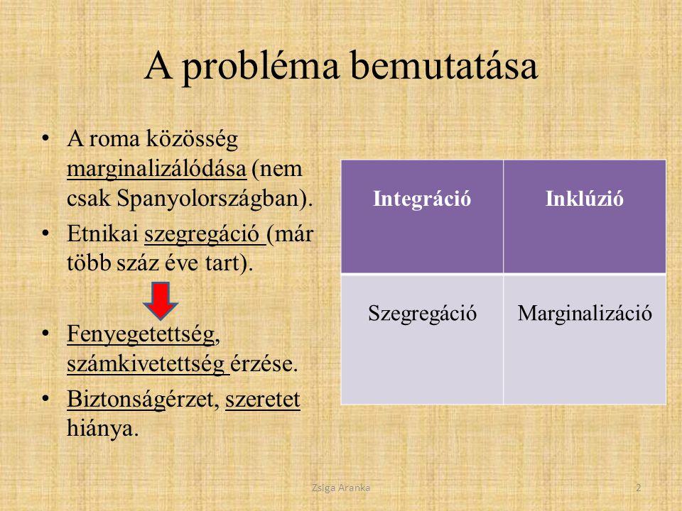 A probléma bemutatása A roma közösség marginalizálódása (nem csak Spanyolországban).